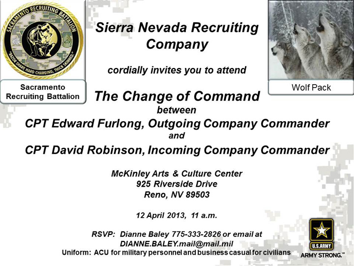 Sierra Nevada Recruiting Company Change of Command - 12